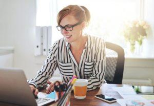 woman searching for Dusyk & Barlow Insurance new website Regina